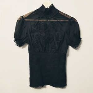 BeBe Sheer Couture Turtle Blouse XS